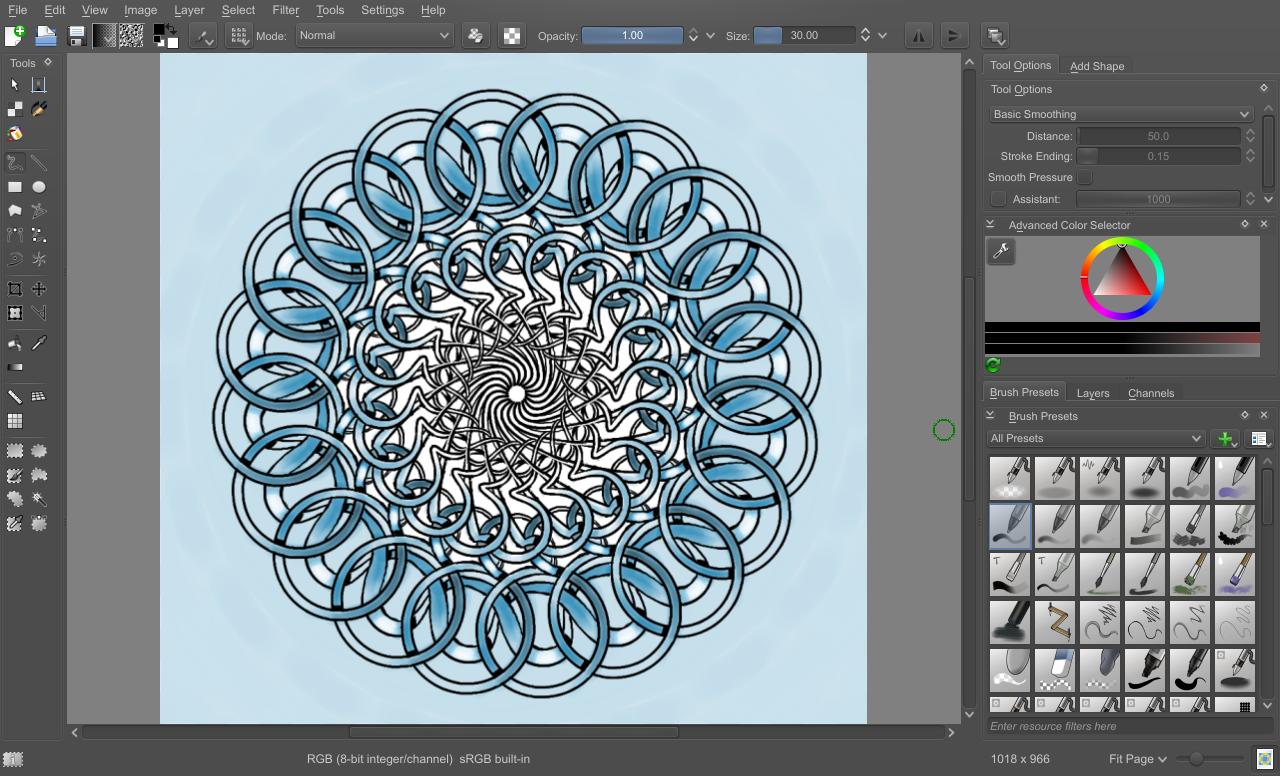 Krita Symmetry Tool Menu