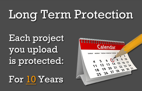 Longterm Protection: Each project you upload is protected for 10 years.