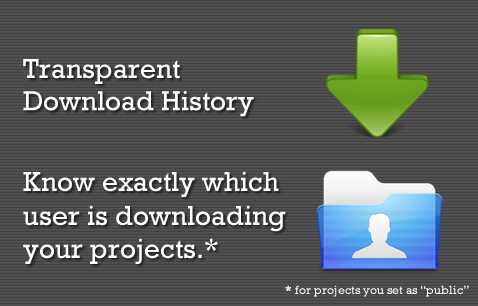 Transparent Download History: Know exactly which user is downloading you project.